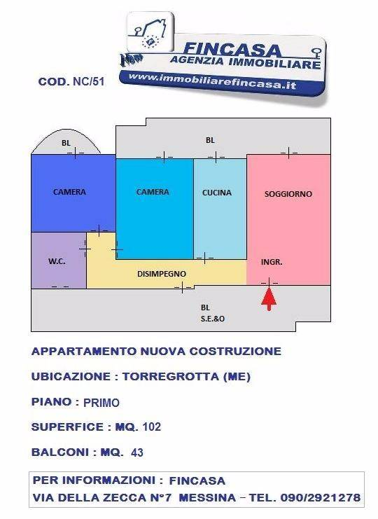 Appartamento in Vendita a Torregrotta Periferia: 3 locali, 102 mq