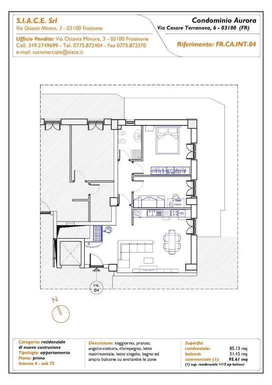 Appartamento nuova costruzione al piano 1 con ampio balcone
