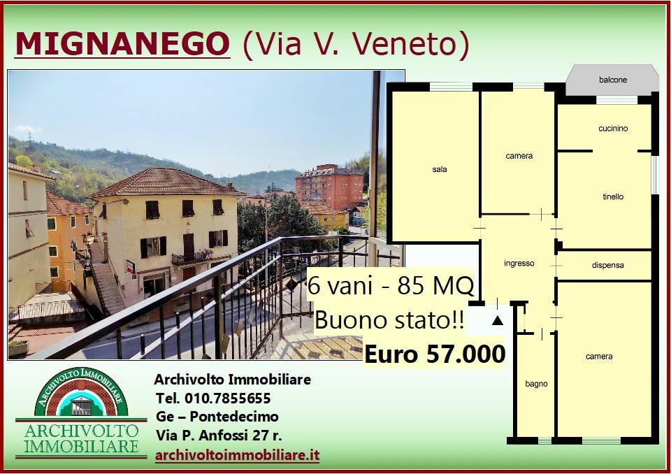 Foto 1 di Trilocale via Vittorio Veneto 137, frazione Vetrerie, Mignanego