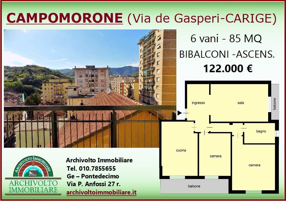 Foto 1 di Trilocale via Alcide De Gasperi, Campomorone